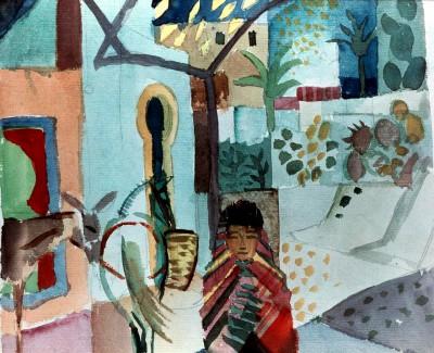 Mädchen mit Pferd und Esel - August Macke