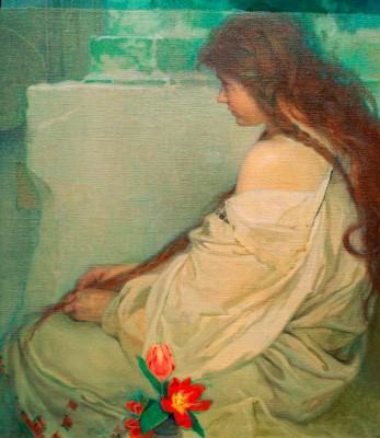 Mädchen mit Tulpen - Alfons Mucha