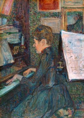 Mademoiselle Marie Dihau au piano - Henri de Toulouse-Lautrec