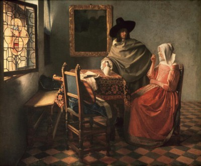 Man and woman drinking wine - Jan Vermeer