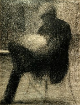 Man sitting on a terrace, reading - Georges-Pierre Seurat