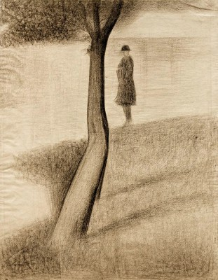 Man standing next to a tree - Georges-Pierre Seurat
