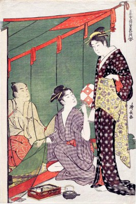 Man under a Mosquito Net with Two Women - Torii Kiyonaga