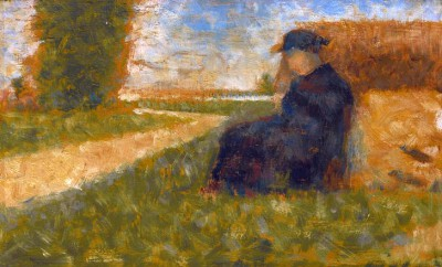 Massive figure in a landscape in Barbizon - Georges-Pierre Seurat