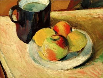 Milchkrug und Äpfel auf Teller - August Macke