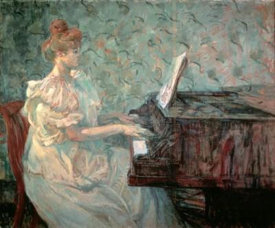 Misia Natanson am Flügel - Henri de Toulouse-Lautrec
