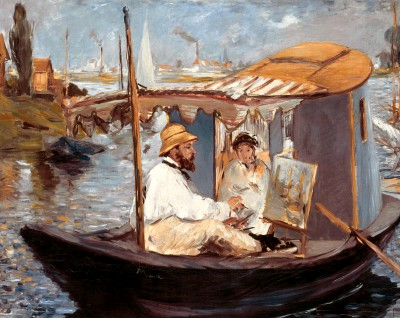 Monet painting in his studio boat - Édouard Manet