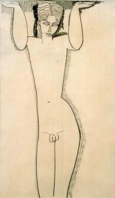 Nackter junger Mann (Atlas) - Amedeo Modigliani