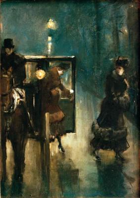 Nightly street scene - Lesser Ury