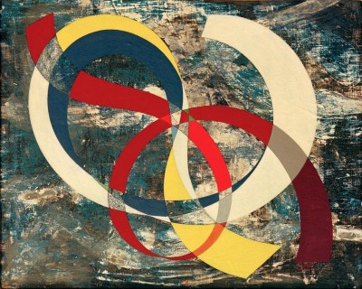 Node in lively colours on chaotic background - Sophie Taeuber-Arp