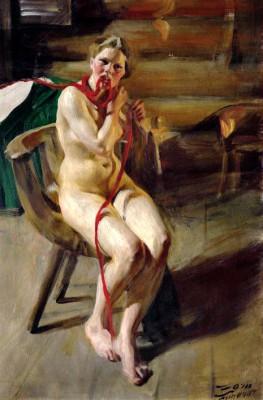 Nude combing her hair - Anders Zorn