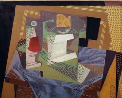 Obstschale auf dem blauen Tischtuch - Juan Gris