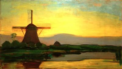Oostzijder Mühle am Abend - Piet Mondrian