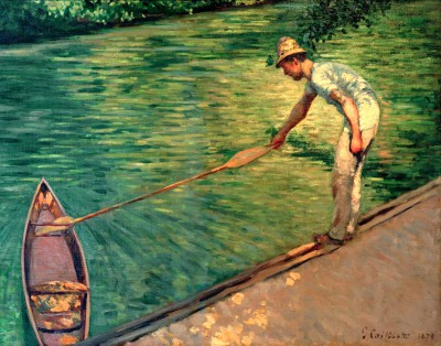 Paddler pulling his paddle boat closer - Gustave Caillebotte