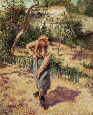 Paysanne travaillant dans un potager - Camille Pissarro