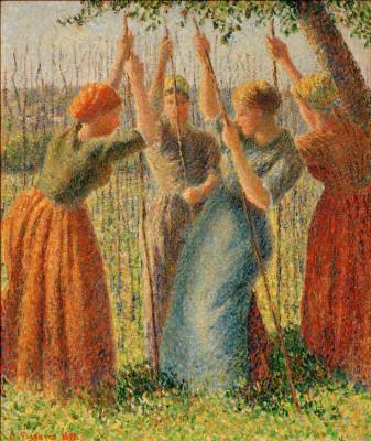 Paysannes plantant des rames - Camille Pissarro
