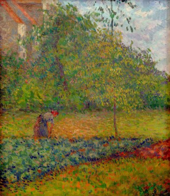 Peasant woman in a vegatable garden in Pontoise - Camille Pissarro