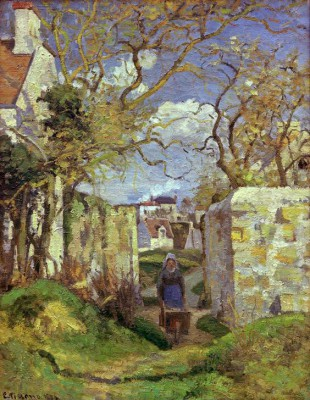 Peasant woman pushing a wheelbarrow, landscape at Pontoise - Camille Pissarro