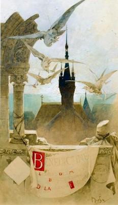 Plakatentwurf für den Kräuterlikör Bénédictine aus dem Kloster Fécamp - Alfons Mucha