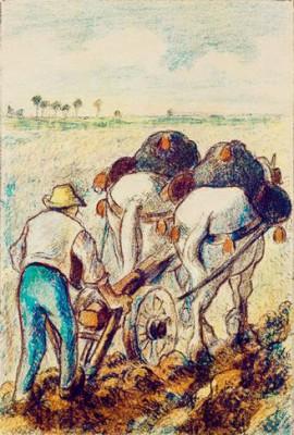 Ploughing Peasant - Camille Pissarro