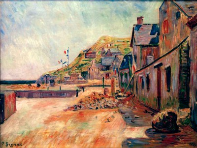 Porten-Bessin on 14 July or farm houses on the beach - Paul Signac