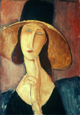 Portrait of a woman with large hat - Amedeo Modigliani