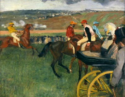 Racecourse, amateur jockeys next to a carriage - Edgar Degas