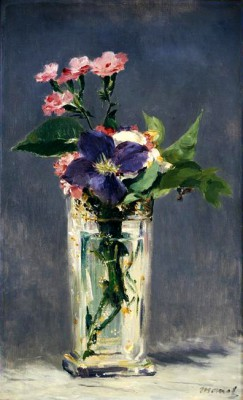 Ragged robins and clematis in a crystal vase - Édouard Manet