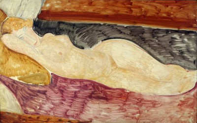 Reclining act withy right arm under the head - Amedeo Modigliani