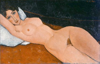 Reclining female nude on a white cushion - Amedeo Modigliani