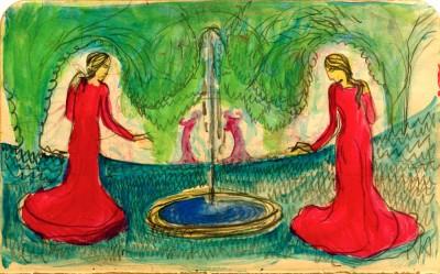 Reigen am Brunnen - August Macke
