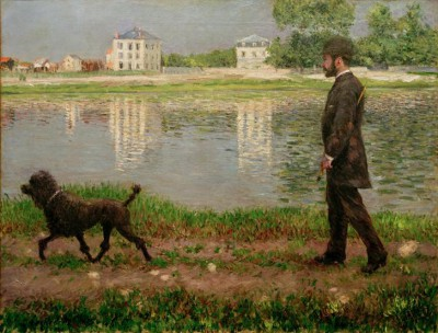 Richard Gallo and his dog Dick on the banks of the Seine - Gustave Caillebotte
