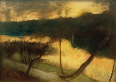 River landscape - evening mood - Lesser Ury