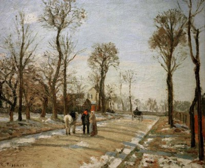 Road to Versailles Louveciennes, winter sun and snow - Camille Pissarro