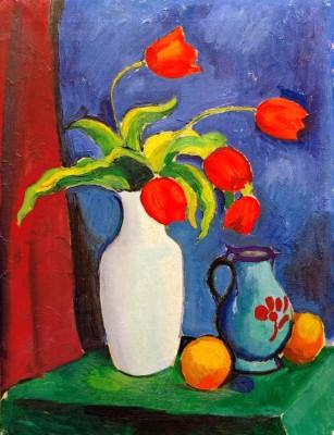Rote Tulpen in weißer Vase - August Macke