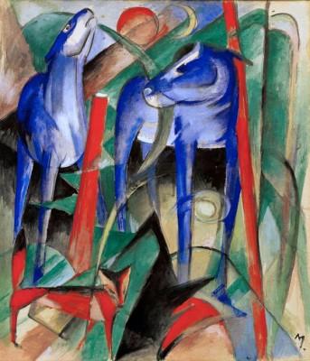 Schöpfung der Pferde (Drei Fabeltiere) - Franz Marc