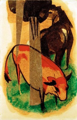 Schwarzbraunes Pferd und gelbes Rind - Franz Marc