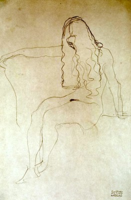SEATED NUDE, HER FACE COVERED BY HER HAIR - Gustav Klimt