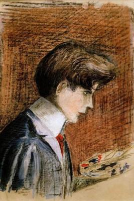 Selbstbildnis mit Palette - Egon Schiele