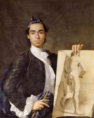 Self-portrait with academic study - Luis Meléndez