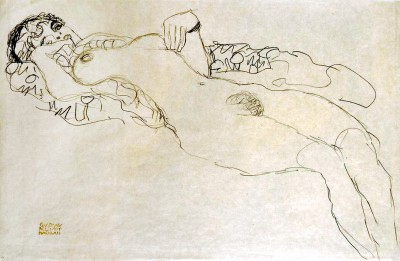 SEMI-NUDE GIRL LYING LEFT - Gustav Klimt