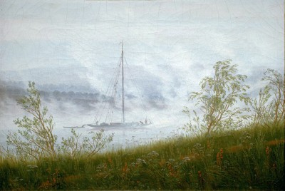 Ship on the Elbe in the early morning fog - Caspar David Friedrich