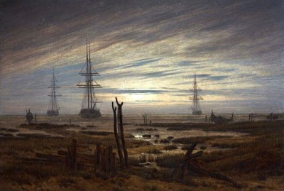 ships anchored in the roadstead - Caspar David Friedrich