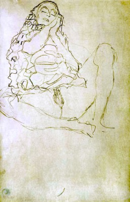 SITTING SEMI-NUDE WITH CLOSED EYES - Gustav Klimt