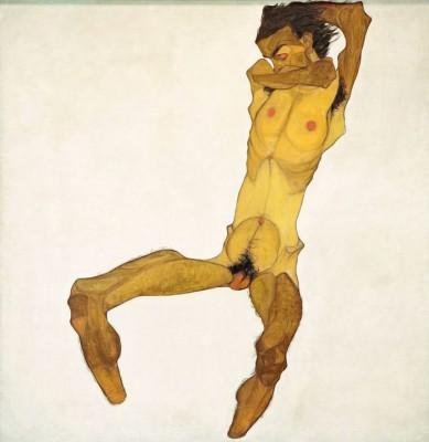 Sitzender Männerakt - Egon Schiele