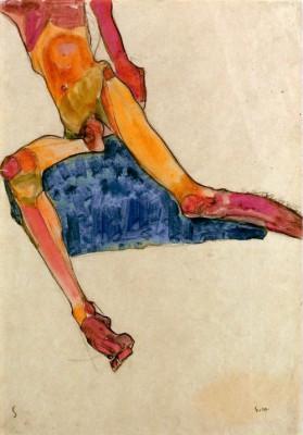 Sitzender männlicher Torso - Egon Schiele