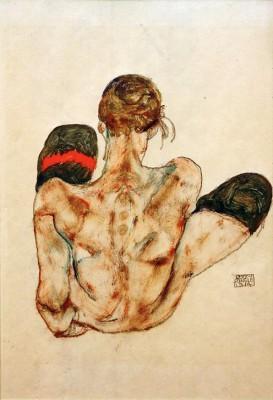 Sitzender weiblicher Rückenakt - Egon Schiele