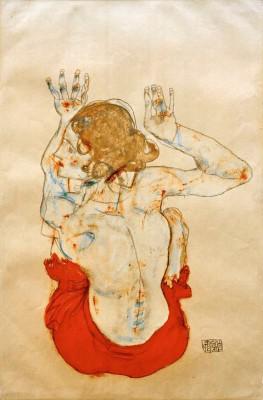 Sitzender weiblicher Rückenakt mit rotem Rock - Egon Schiele