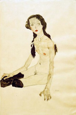 Sitzendes Mädchen mit Pferdeschwanz - Egon Schiele