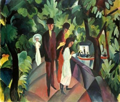 Spaziergang auf der Brücke - August Macke